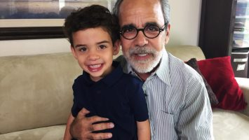 Howard Broadman poses with his grandson Quinn in Laguna Niguel, CA. Broadman is the first patient in history to donate a kidney to a stranger now, with the guarantee that his grandson will get a kidney whenever he needs one in the future - without having to go onto a donor wait list.